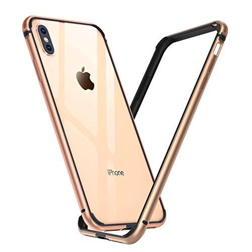 Arktis Hülle für iPhone XS Max, AirZero Alu Bumper Rahmen - Champagner Gold kabelloses Laden möglich Aluminium Rahmen ultradünn federleicht