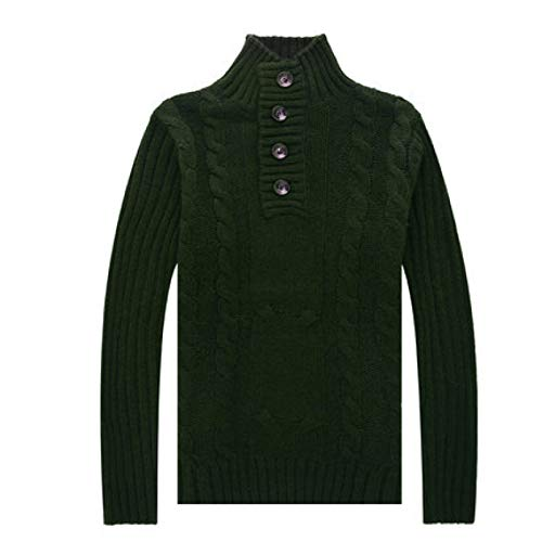 Wantess Suéter de Cuello Alto para Hombre Pullover Botón Decorativo Twist Knitting Color Liso Regular Fit Casual Jumper Tops Medium