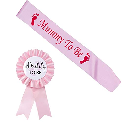 Mommy to Be Sash Daddy Pin Kit Baby Shower Reveal Gift Gender Mom Pregnancy Sprinkle Keepsake Combo Party Decoration Celebration Favors Glitter Lettering Blue Pink White Present (Pink)