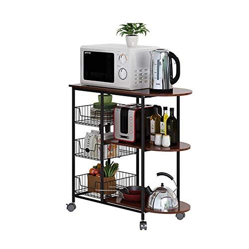 WHEEJE Microwave Oven Kitchen Shelf Kitchen Shelf 3 Layers Microwave Oven Rack Spice Rack Solid Wood Trolleys Living Room Storage Rack Firm