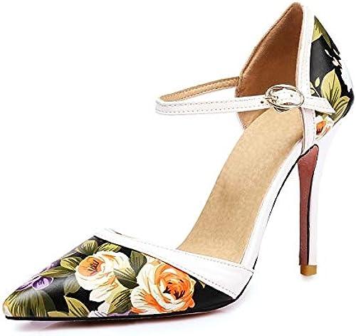 HommesGLTX Talon Aiguille Talons Talons Talons Hauts Sandales Plus La Taille 34-47 Nouvelles Chaussures à Talons Hauts Femme PU Impression Cuir été Femmes Pompes à Bout Pointu Chaussures De Mariage 310