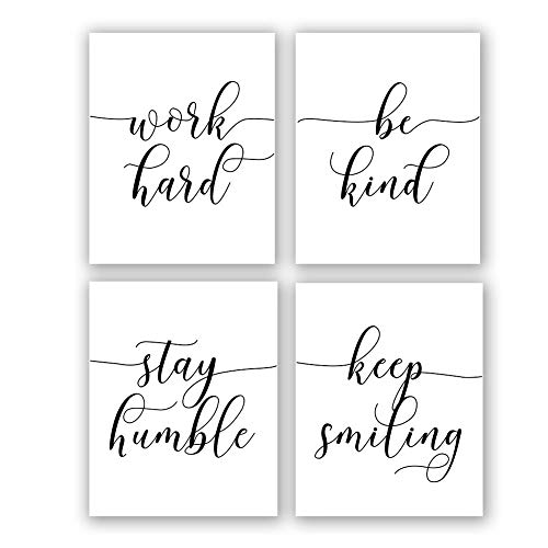 "Inspirational Quote&Saying Art Painting,Work Hard,Be Kind,Stay Humble,Keep Smiling Art Print Set of 4 (8""X10"" Canvas Picture,Motivational Phrases Wall Art for Office or Living Room Home Decor,No Frame"
