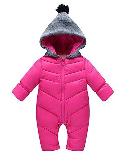 Minetom Baby Overall Winter Baumwolle Schneeanzug Unisex Baby Schlafanzug Hoodie mit Kapuze Einfarbig Romper Langarm Pyjamas Jumpsuit Outwear Wintermantel Sleepsuit Rose 80cm