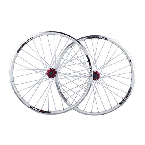 Ruedas De Bicicleta 26 Pulgadas, Pared Doble MTB Rim Liberación Rápida V-Brake Freno De Disco Híbrido 32 Hoyos 8 9 10 Velocidad Deportes (Color : White, Size : 26inch)