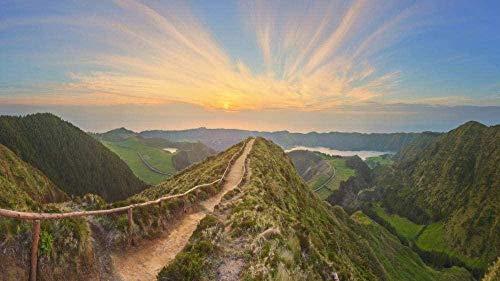 YsKYCp Puzzle 1000 Piezas Trail Guardrail Mountain Sunset Niños Adultos Juguetes Educativos De Madera Juego De Regalo para La Decoración del Hogar 75 * 50Cm