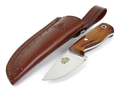 Hobbit: Couteau de Cou de Chasse Survie Bushcraft Randonnée Camping, Lame INOX MOVA-58, Étui de Transport en Cuir, Fabriqué en Espagne