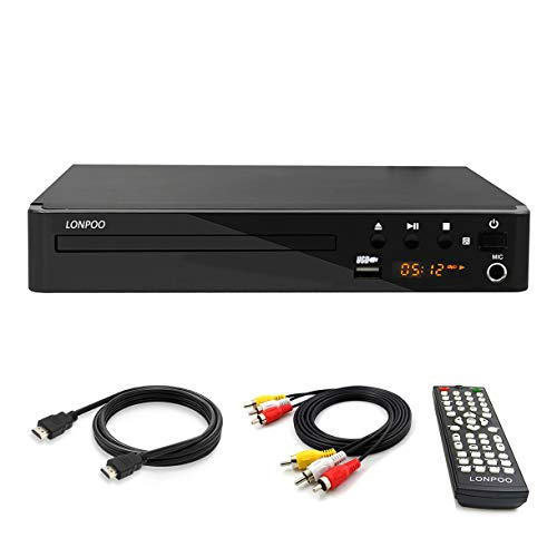 LP-099 Multi Region Code Zone Free PAL/NTSC HD DVD Player CD Player with HDMI AV Output & Remote & USB 2.0 & MIC Input - Compact Design