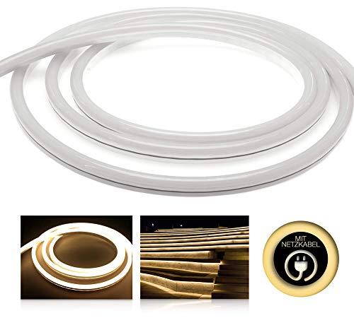 LED Universum 5 Meter Pro230 NeonFlex LED Streifen warmweiß mit Netzanschlusskabel, IP65, 230 V, 9 W/m, 280 lm/m, für Innen- und Außenbereich