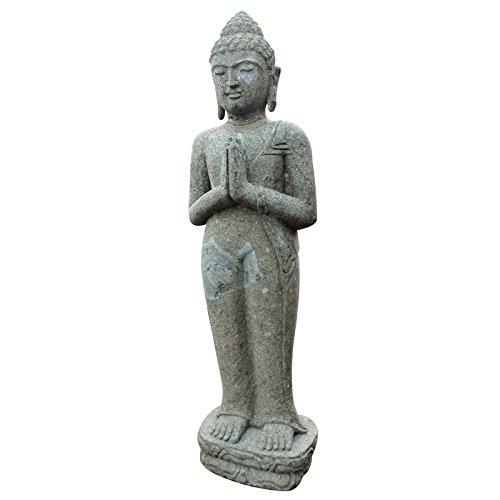 Der Schwarze Mann Buddha Figur 100cm stehend Skulptur Statue Green Stone Bali Feng Shui Garten