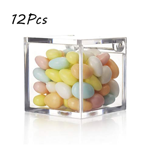 12 UNIDS Favor de La Boda Cajas de Regalos de Caramelo Caja de Caramelo Transparente Caja de Empaque de Regalo de Cubo de Plástico Favor de la Boda Cajas de Embalaje de Caramelo Dulce de Chocolate