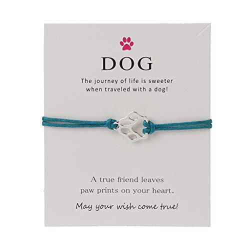 SimpleLife Handmade Friendship Bracelet - Infinity Love Pet Paw Estampado con una Pulsera de Deseos de Cuerda de Cera - Ajustable - Unisex