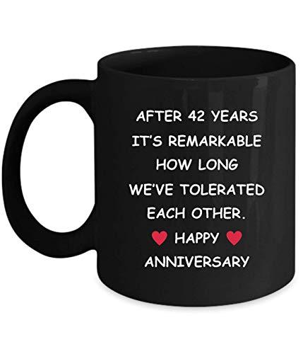 Lsjuee 42 Aniversario Regalos para su esposa, esposo, novia, novio, 42 años, 42 años, cuarenta segundos, dos, boda romántica, diversión