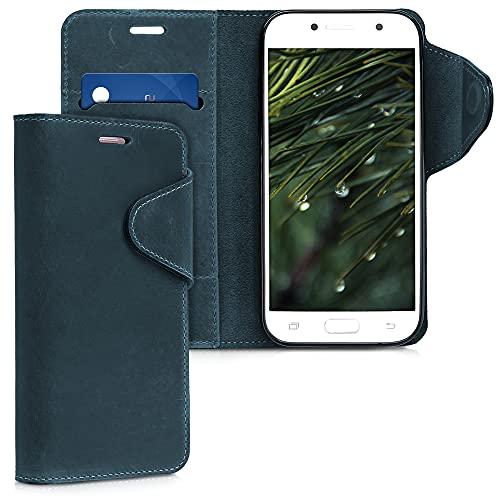 kalibri Wallet Hülle kompatibel mit Samsung Galaxy A5 (2017) - Hülle Leder - Handy Cover Handyhülle in Dunkelblau
