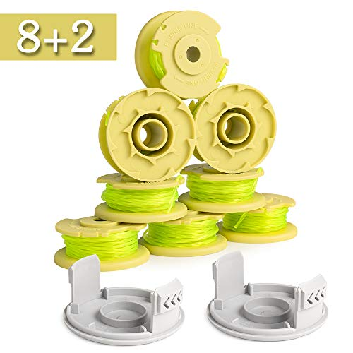 FutureWay String Trimmer Lines Compatible with Ryobi 18v 20v 40v Cordless Trimmer, 11ft 0.08inch Weed Eater Spools, Set of 8 Spools and 2 Caps