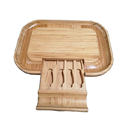 ZXQC Tablero De Queso De Bambú con Cajones Deslizantes Alimentos De Madera Natural Sirviendo Platos Y Bandejas, Carne Y Galletas Charcuterie Cutlery (Size : 44X30X3.5cm)