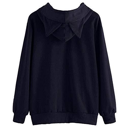 Meikosks Women's Cat Ear Long Sleeve Hoodie Solid Sweatshirt Loose Causal Pullover Tops Tunic 3