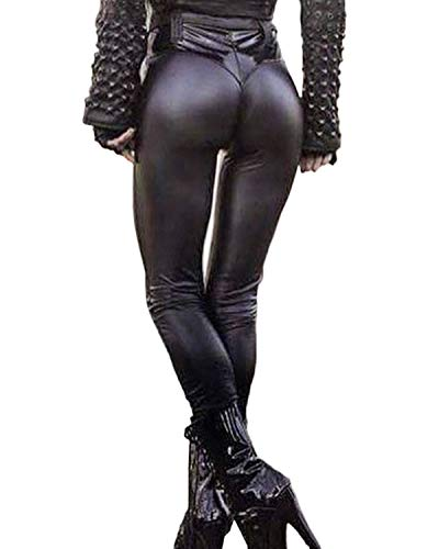 FITTOO Leather PU Elastic Shaping Hip Push up Butt Lift Pants Black Sexy Leggings for Women Patent Leather X-Large