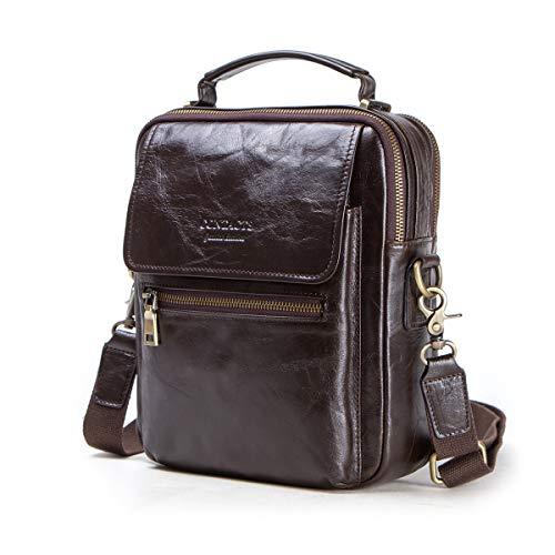 "Contacts Cow Nubuck Leather Men 9.7"" iPad Tote Crossbody Messenger Bag Coffee"