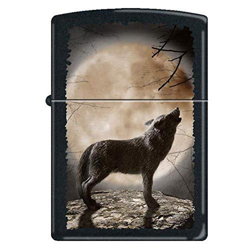 Zippo Feuerzeug 60001355 Wolf Howling to The Moon Benzinfeuerzeug, Messing, Black Matte, 1 x 3,5 x 5,5 cm