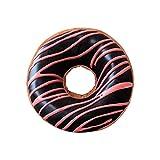 HYSEAS Round Throw Pillow 14 Inch Chocolate Pink Donut,...