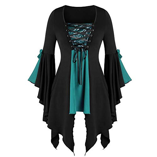 LOKODO Women Halloween Gothic Costume Plus Size Long Sleeve Tops Sequined Blouse Lace Up Tunic Tee Ball Gowns Dress Green 3XL