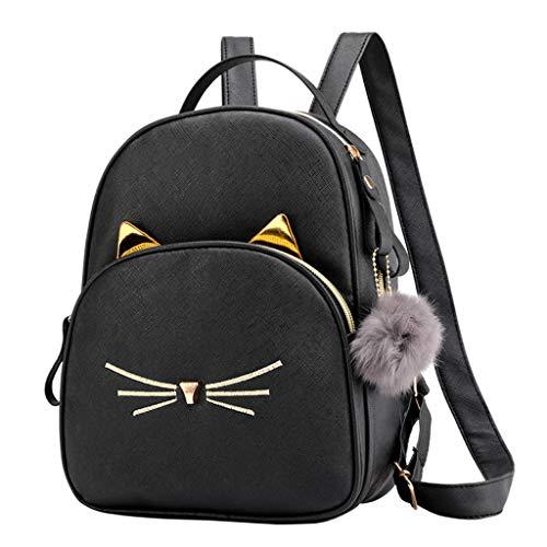 Rucksack Damen Elegant Umhängetasche Weant Vintage Canvas Schultasche Haarball Katzenabdruck Anti-Diebstahl Tagesrucksack Handtasche Schulrucksäcke Mädchen Reiserucksack Sporttasche Backpack