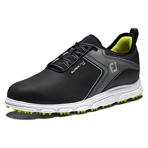 FootJoy Men's Superlites XP Golf Shoes, Black/Lime, 7 M US
