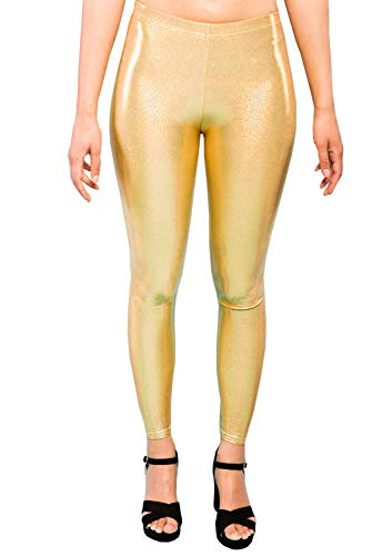 Holografische gouden glitter vrouwen legging dames partij panty Sparkly Festival broek EDM kleding XS S M L XL XXL