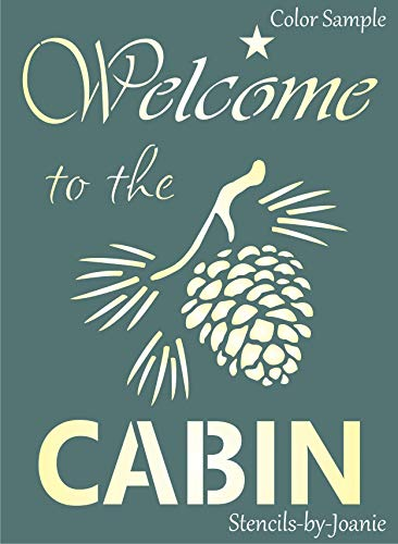 """Joanie 9""""x12"""" Stencil Welcome Cabin Pinecone Rustic Country Mountain Lodge DIY Art Sign"""