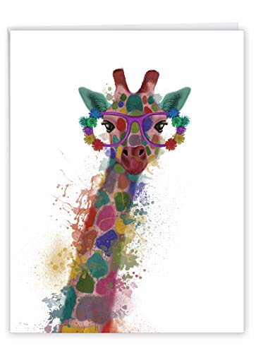 The Best Card Company - Jumbo Animal Congratulations Card (8.5 x 11 Inch) - Fun Kids Celebration, Congrats - Funky Rainbow Wildlife J4948HCGG
