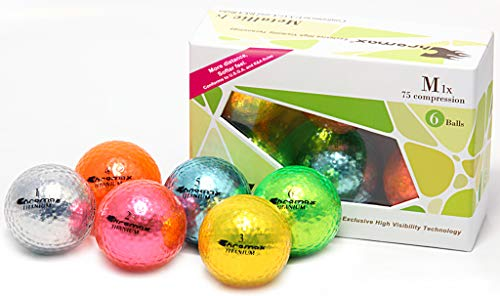 Chromax Metallic M5 Colored Mixed Golf Balls (Pack of 6), Assorted
