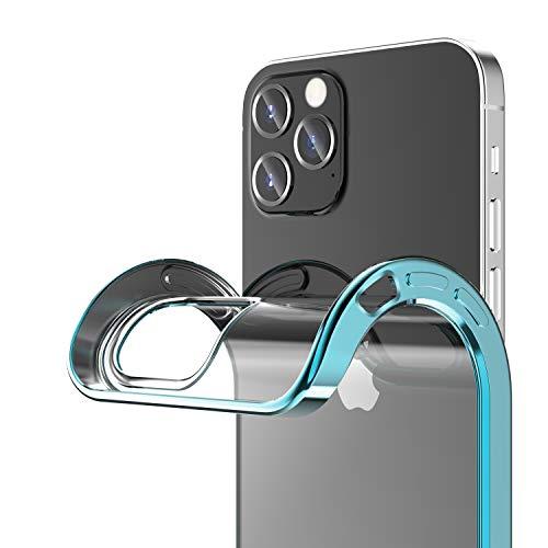 ORANGA iPhone12 ケース iPhone 12 Proケース クリア 6.1インチ 薄型TPU 超透明 ソフトケース 耐衝撃SGS認証 メッキ加工 青いバンパー ワイヤレス充電 レンズ保護 黄変防止 指紋防止 アイフォン12 カバー (ブルー)