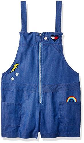 Tommy Hilfiger Girls' Big Denim Shortall, Twinkle Blue, Large