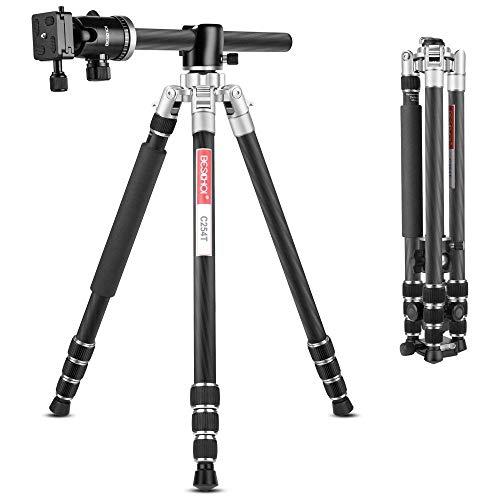 Beschoi C254T Carbon Stativ 168cm, Kohlefaser Stativ mit Einbeinstativ Kamera Fotostativ mit 90 Grad Mittelsäulen inkl. Kugelkopf mit Schnellwechselplatte und Stativtasche für DSLR Kamera