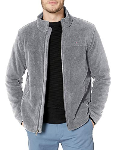 Tommy Hilfiger Men's Classic Zip Front Polar Fleece Jacket, Light Grey, XL
