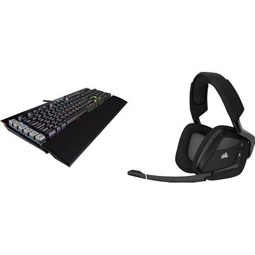 Corsair Platinum RGB Mechanische Gaming Tastatur (mit Cherry MX Brown Tasten, Multi-Color RGB Beleuchtung) schwarz + Void PRO RGB PC Gaming Headset (Wireless Dolby 7.1 Komfort) schwarz
