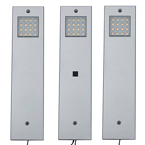 LED Unterbauleuchte, 3er Set Küchenunterbauleuchte Vitrinenleuchte - mit Zentralschalter - Lichtfarbe: warmweiß, 3 Watt pro Leuchte. Küchenlampe Schrankleuchte Aufbauleuchte Küchenleuchte