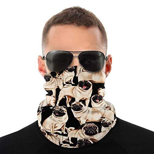 Máscara facial bandana para hombres y mujeres, tela de carlino de media cara, protección contra el sol, UV, polvo, viento, transpirable, bufanda para cuello, polaina, color blanco y negro