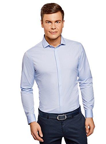 oodji Ultra Herren Hemd Basic aus Strukturiertem Stoff, Blau, Herstellergröße 41 (Kragenweite 41 cm)/ DE 50 / M