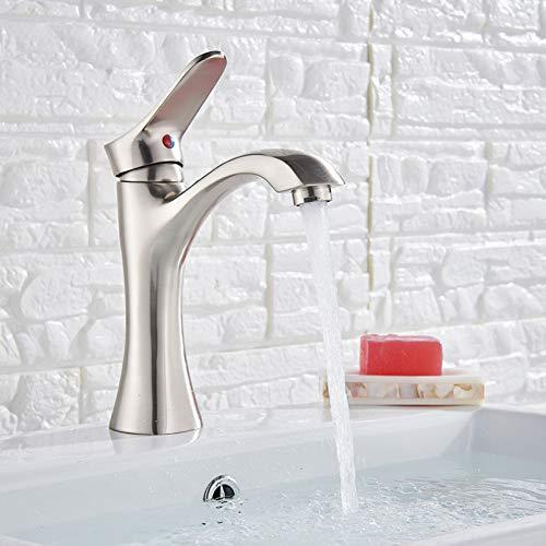 RTTGOR Wasserhahn Nickel gebürstet Waschbecken Wasserhahn Hot Old Mixer Kranhahn Messing Küche Short Fauces Deck Mount Wash One Hole