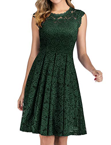 Lace Fit Flare Midi Cocktail Dress for Women Party Wedding DarkGreen S (Apparel)