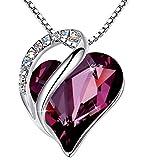 Leafael Infinity Collar con colgante de corazón de amor, amatista, rosa oscuro, piedra natal de febrero, joyería de cristal, regalos para mujeres, tono plateado, 18 '+2'