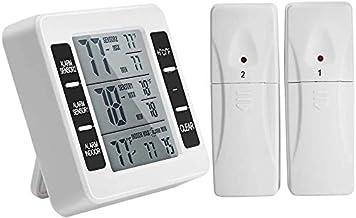 YOUTHINK Termómetro Para Refrigerador Termómetro Inalámbrico para Congelador con 2 Sensores Inalámbricos Alarma Audible Registro Mínimo y Máximo ℃ / ℉ Pantalla LCD Conmutable (Batería no Incluida)