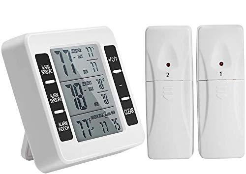 Kühlschrank Thermometer, Digitales Gefrierthermometer, Kühlschrankthermometer Innen und Außen Thermometer LCD Display mit 2 Sensoren,Temperatur Alarm,MIN/MAX