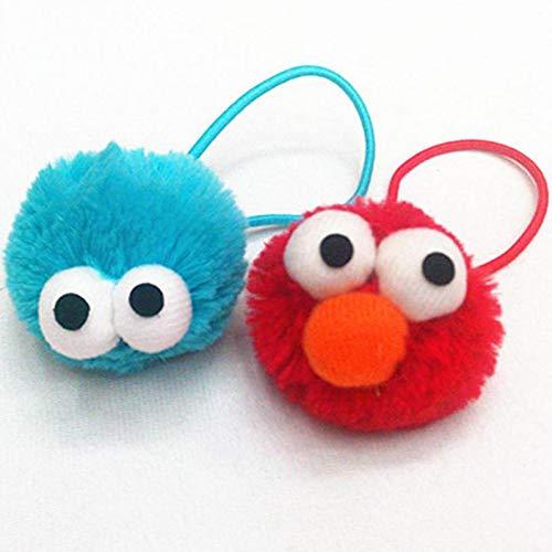 miaomiao Juguete de Peluche Mini 2 Piezas Sesame Street Elmo Monster Hair Band Accesorios Horquilla Hair Rope Plush Soft Toy para Bebés Niñas Regalos De Cumpleaños