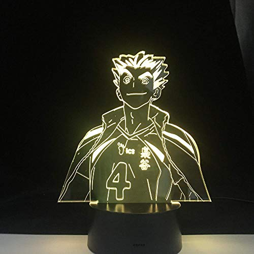 Bokuto Anime Lámpara Haikyuu Naruto Figura Nightlight Acrylic Lámpara 3D Lámpara Kid Dormitorio Decoración Anime Luz 16 Colores Regalo de gota remota-Sin controlador