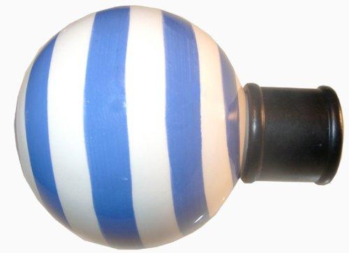 DécoProfi 2 x Endstück Keramikkugel, für Gardinenstangen 16 mm Durchmesser, blau/Weiss