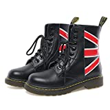 LIUJUN-WEI Martin Botas, Los Modelos de Otoño E Invierno de Botas de Cuero Británica, Ejército Botas con Botas de Color de Contraste, de Alta Superior Herramientas Botas, Zapatos de Moda