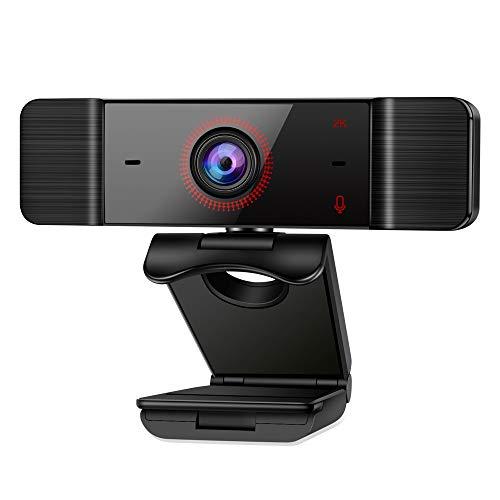 Tensphy Webcam, Webcam PC Full HD 2K con Micrófono Duales Webcam USB 2.0 para transmisiones en Vivo, videollamadas, conferencias, cursos en línea, Juegos