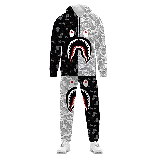 Bape Shark Camo Hoodie And Pants 2-pc Fashion Tracksuit Unisex For Men Women Boys Girls 1BlackL